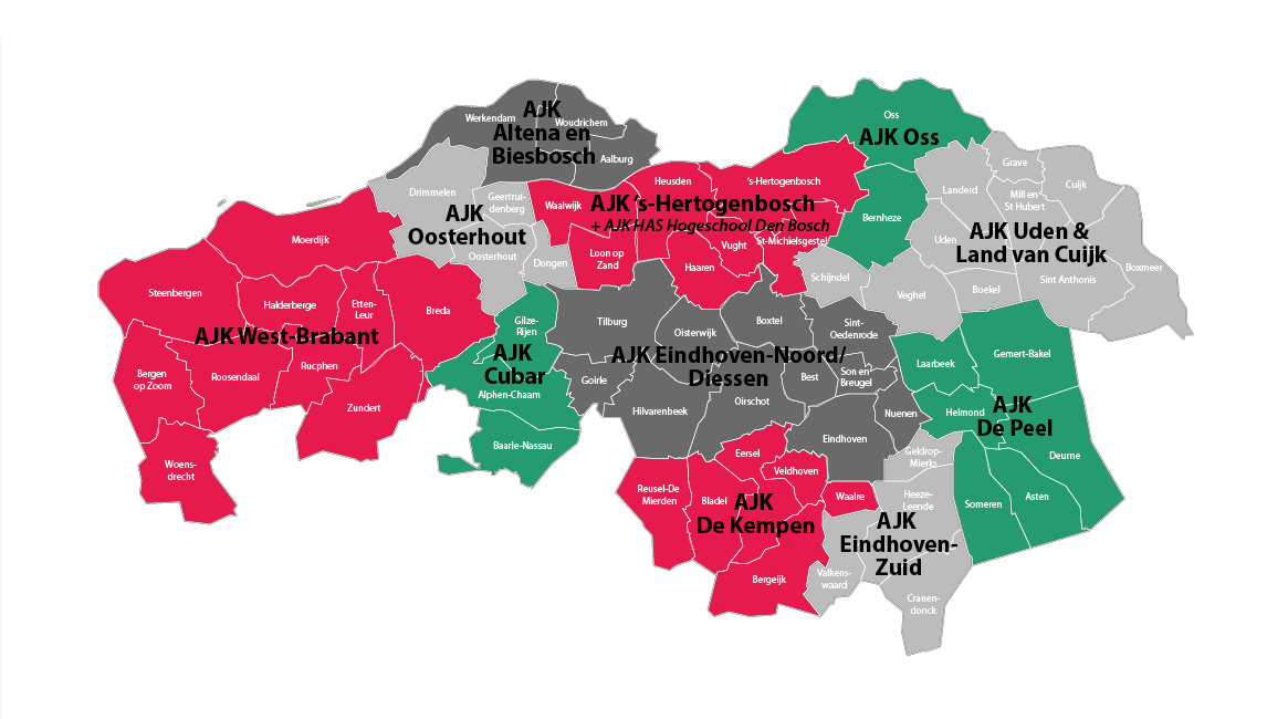 Kaart verdeling AJK's